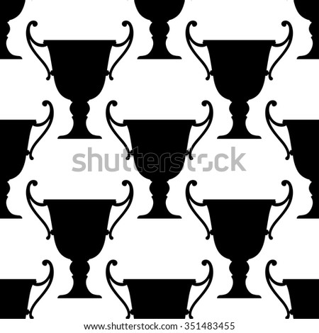 Sport trophy cups seamless pattern with black ornate bowls with handles