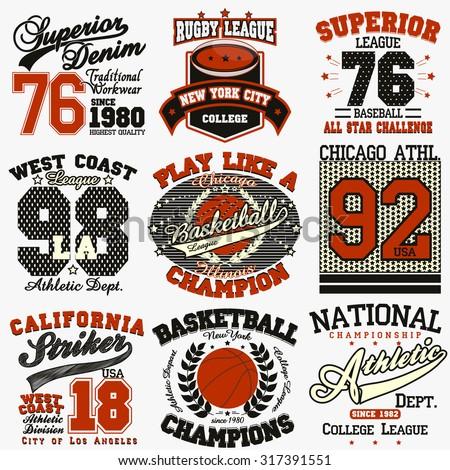 Sport Typography Graphics logo set, T-shirt Printing Design. Athletic original wear, Vintage Print for sportswear apparel - stock vector