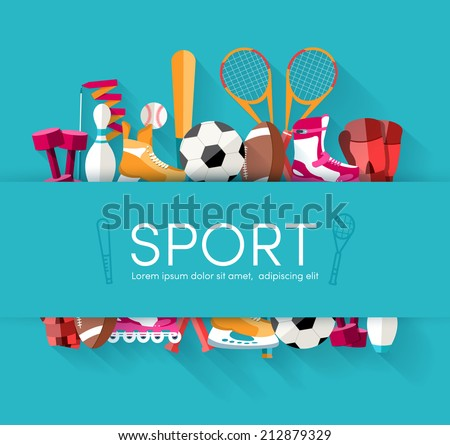 sport vector centet illustration on blue background. Flat concept - stock vector