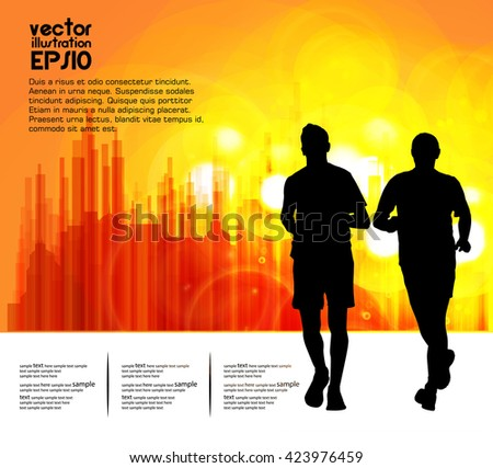 Sport vector illustration. Marathon runners - stock vector