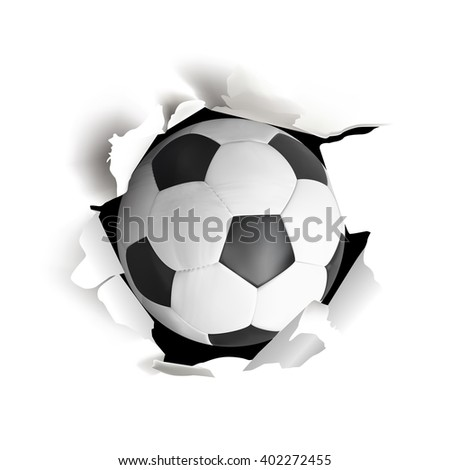 Sport vector illustration with soccer ball coming out from torn paper on white background. - stock vector