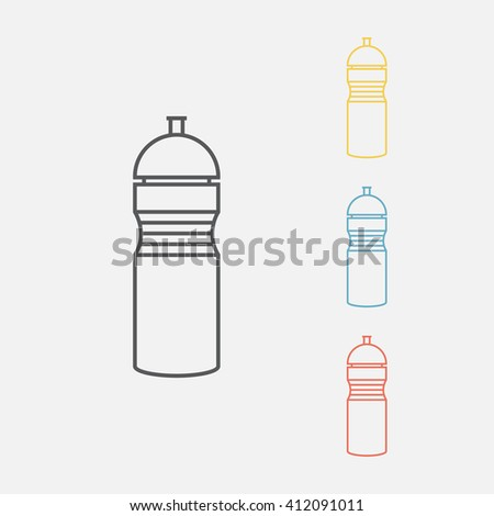 Sport water bottle. Line icon. - stock vector