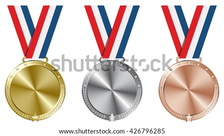 Sport winning. Gold, silver and bronze medals with ribbon set background. Vector file.