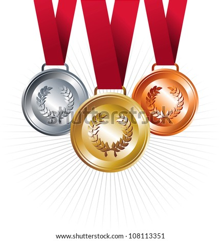 Sport winning positions: Gold, silver and bronze medals with red ribbon set background. Vector file layered for easy manipulation and custom coloring. - stock vector