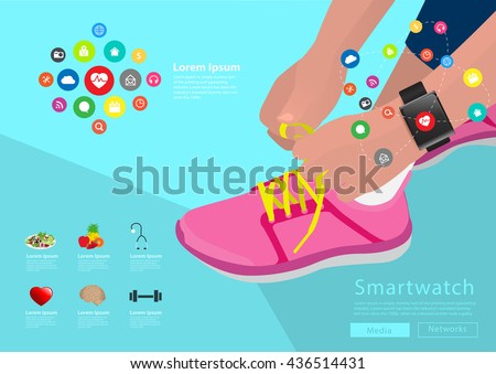 Sport woman hand tying shoelaces wearing touchscreen smartwatch with health sensor applications icons flat design ideas concepts living healthy life, Vector illustration layout template design - stock vector