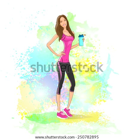 Sport woman hold shaker drink fitness trainer, hot sexy girl bodybuilder athletic muscle over colorful splash paint  background, vector illustration - stock vector
