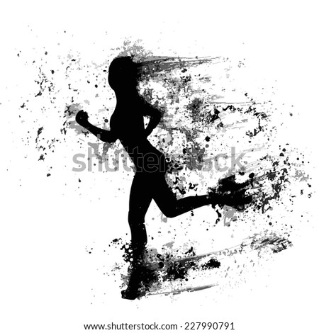 sport woman run paint splash silhouettes, black girl isolated over white background