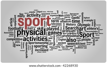 Sport word cloud illustration. Graphic tag collection. - stock vector