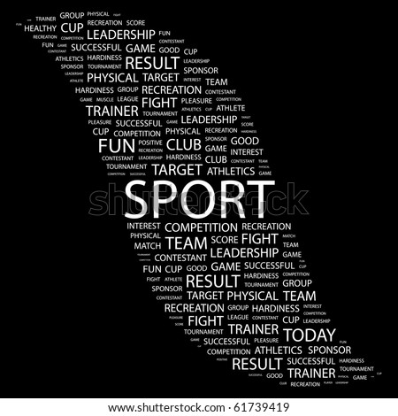 SPORT. Word collage on black background. Illustration with different association terms. - stock vector