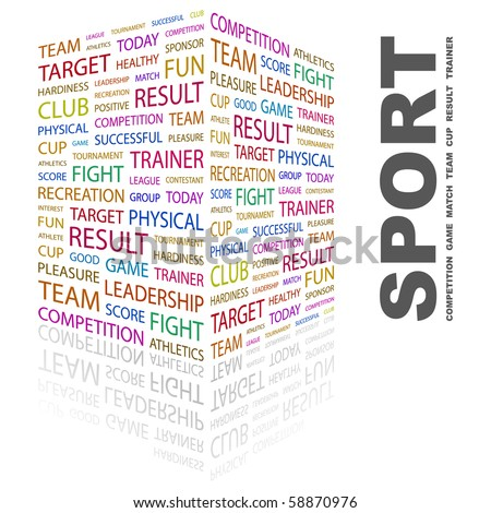 SPORT. Word collage on white background. Illustration with different association terms. - stock vector