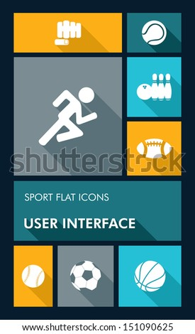 Sport workout mobile UI applications graphic user interface flat icons set. Vector layered for easy editing. - stock vector