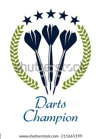 Sporting emblem with darts, laurel wreath and text - Darts Champion, suitable for sport logo and heraldry design  - stock vector