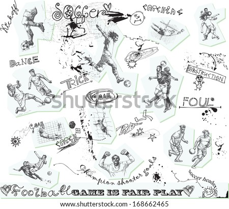 Sporting events around the World: FOOTBALL (SOCCER) no.3. Collection of hand drawn illustrations. Description: Each drawing comprise of one or two layers of outlines, colored background is isolated. - stock vector