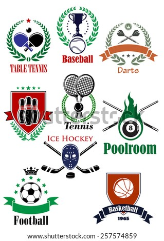 Sporting logo or badges for football or soccer, ice hockey, darts, basketball, billiards, bowling, baseball, table tennis decorated heraldic and sports elements design - stock vector