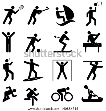 Sports and athletics icon set - stock vector