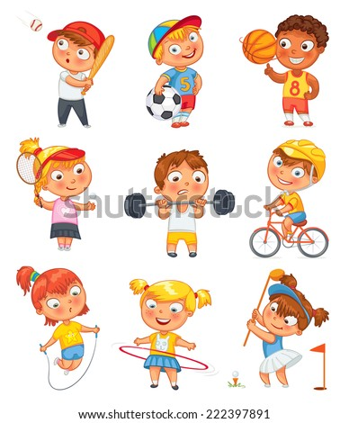 Sports and fitness. Skipping rope, hula hoop, golf, cycle racing, weight lifter, tennis, basketball, football, baseball. Funny cartoon character. Vector illustration. Isolated on white background. Set - stock vector