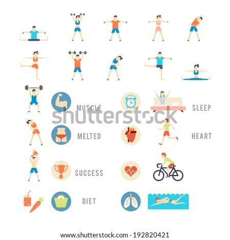 Sports and Health People, vector eps10 illustration. People play sports, weights biking yoga and swimming - stock vector