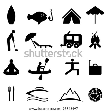 Sports and recreation icon set - stock vector