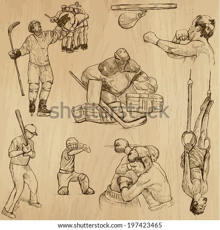 Sports around the World (vector pack no.13). Collection of an hand drawn illustrations (originals). Each drawing comprises of two layers of outlines, the colored background is isolated.