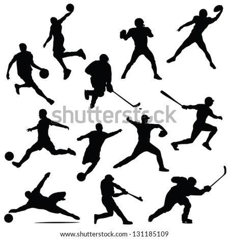 sports athletes isolated silhouettes - stock vector
