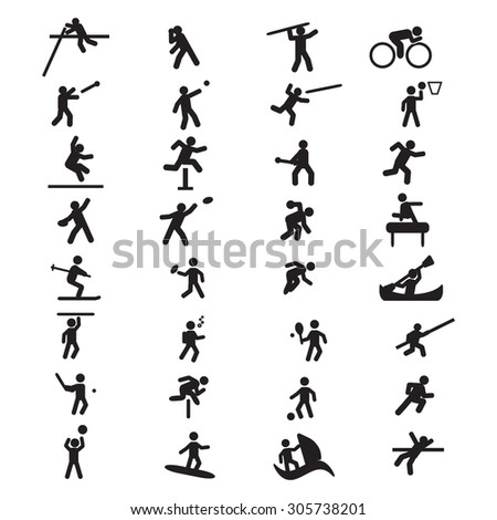 Sports Athletics icon set - stock vector
