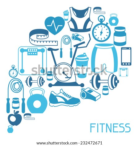 Sports background with fitness icons in flat style. - stock vector