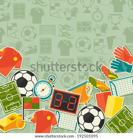 Sports background with soccer (football) sticker icons. - stock vector