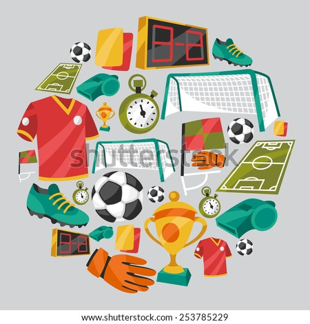 Sports background with soccer football symbols in cartoon style. - stock vector