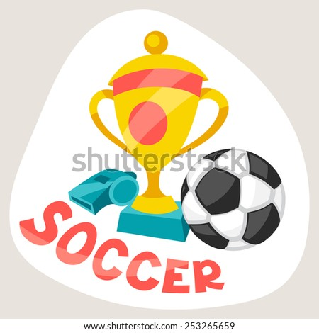 Sports background with soccer symbols in cartoon style. - stock vector
