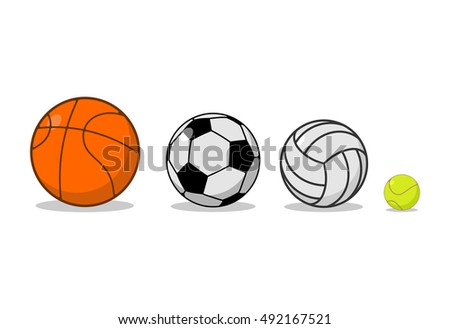 Sports ball set. Basketball and football. Tennis and volleyball. physical equipment for games