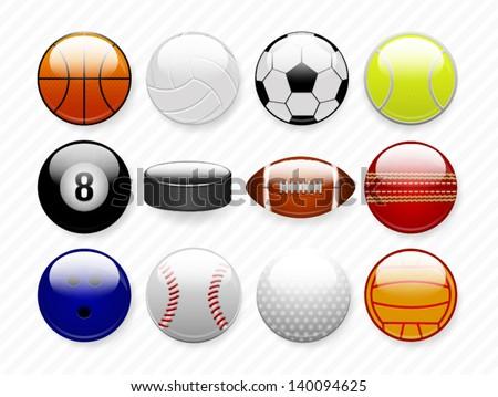 sports balls - stock vector