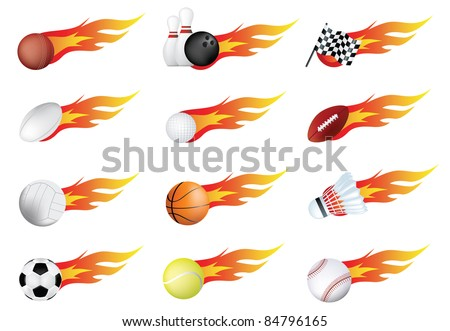 sports balls and flames drawn using gradient mesh - stock vector