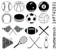 Sports Balls and Other Items is an illustration of balls and other sports related Items. Includes baseball, football, soccer and many others. - stock vector