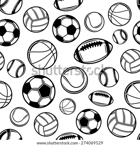 sports balls background seamless pattern icons