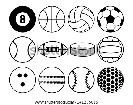 sports balls black and white - stock vector