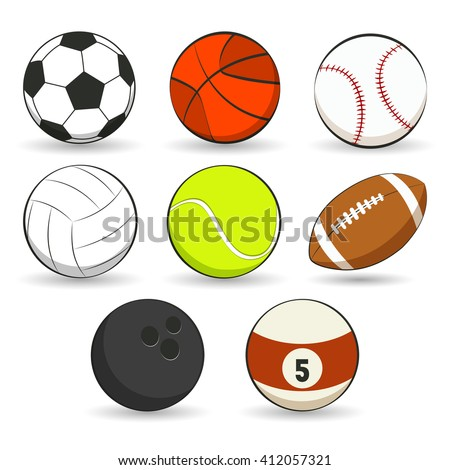 Sports balls collection on white background. Vector illustration