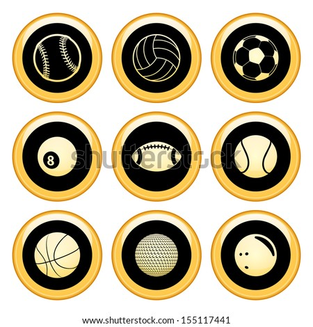 Sports Balls Icons Gold Icon Set - stock vector