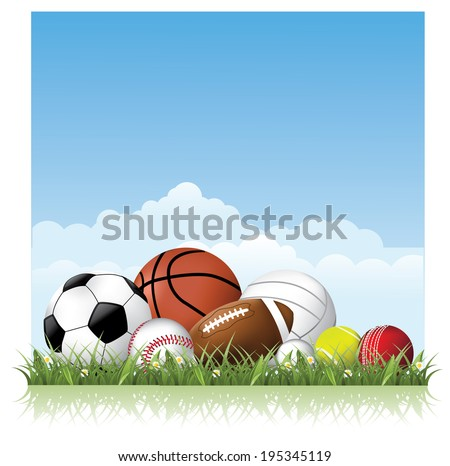 Sports balls in the grass. EPS 10 vector. - stock vector