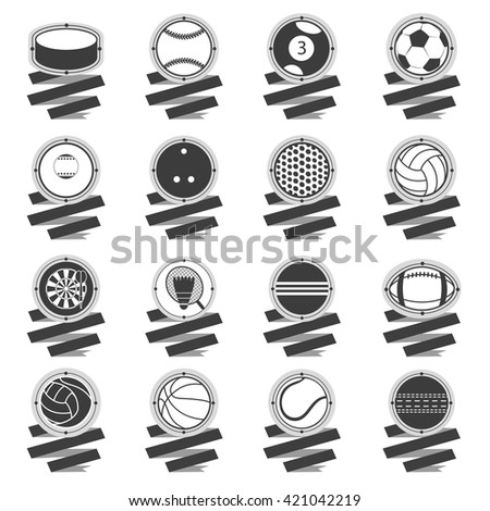 Sports Balls logo. Football, basketball, golf, volleyball, hockey, american football, tennis, billiard, baseball, bowling, cricket, croquet, badminton, darts, golf, ping pong - stock vector