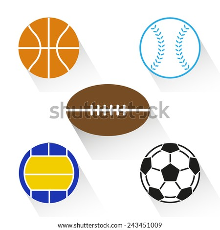 sports balls on white background - stock vector