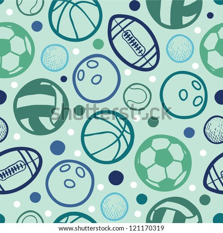 Sports balls seamless patterns backgrounds - stock vector