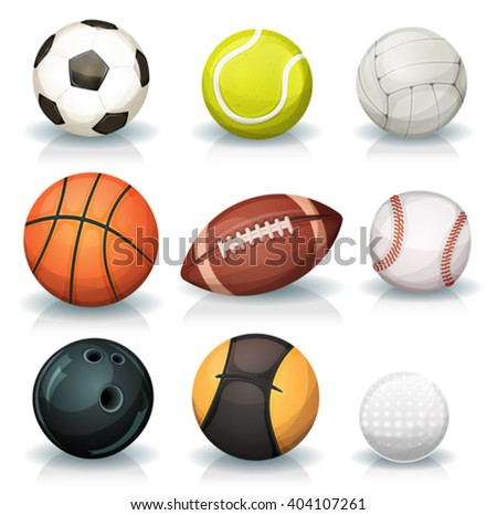 Sports Balls Set/ Illustration of a set of popular sports balls and bowls equipment, for football, soccer, rugby, tennis, volleyball, basketball, baseball, gulf, medicine ball for fitness and bowling