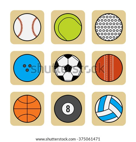 Sports balls. Set of flat color icons - stock vector
