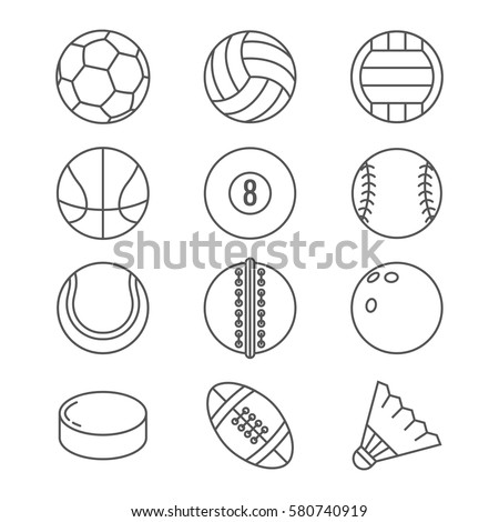 Sports balls vector thin line icons. Basketball and soccer, tennis and football, baseball or bowling, golf and volleyball balls illustration
