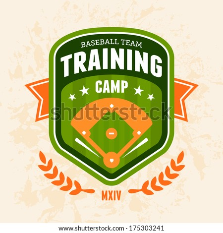 Sports baseball training camp badge logo emblem design - stock vector
