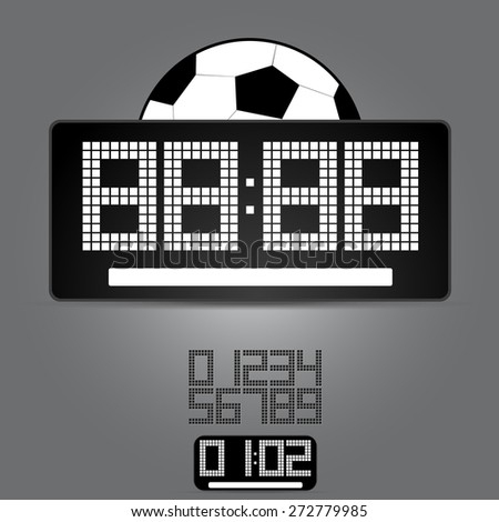 sports board with a soccerball and a set of figures - stock vector