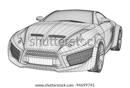 Sports car blueprint non branded concept stock vector 94699741 sports car blueprint non branded concept car malvernweather Images