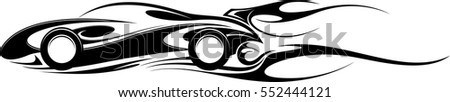 Sports car emblem with fire flame, simple black and white decorative graphic for tattoo or t-shirt print, isolated on white. Motorsport logo. Vector illustration