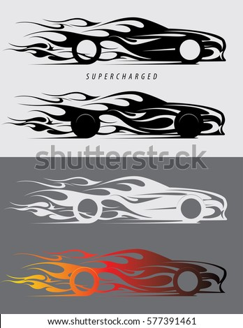 Sports car emblem with fire flames textile prints vinyl stickers and decals for auto