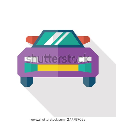 Sports car flat icon with long shadow - stock vector